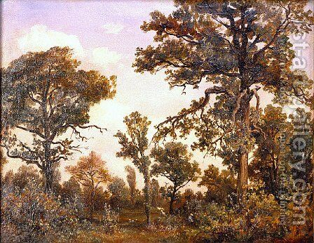 The Large Oak Tree, Forest of Fontainebleau by Theodore Rousseau - Reproduction Oil Painting