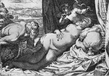 Jupiter and Antiope by Annibale Carracci - Reproduction Oil Painting