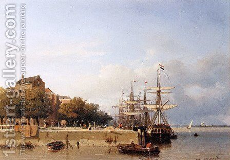 Ships on a quay by Jan Hendrik Weissenbruch - Reproduction Oil Painting