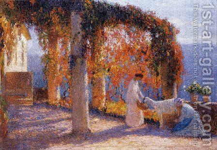 Young Women in Terrace by Henri Martin - Reproduction Oil Painting