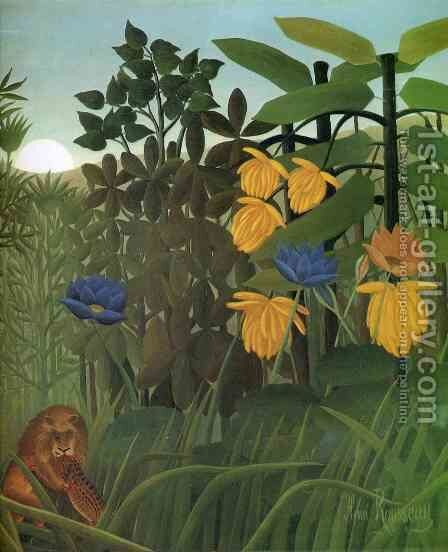 The Repast of the Lion 2 by Henri Julien Rousseau - Reproduction Oil Painting