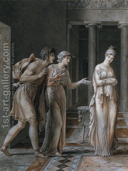 The Meeting of Orestes and Hermione by Anne-Louis Girodet de Roucy-Triosson - Reproduction Oil Painting
