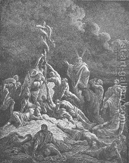 The Bronze Serpent by Gustave Dore - Reproduction Oil Painting