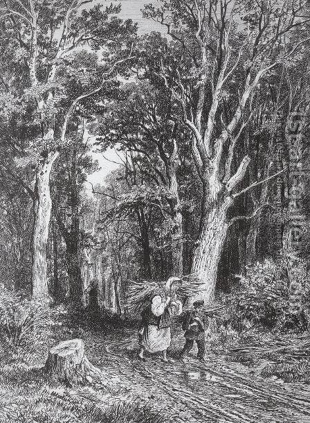 The road in forest 2 by Ivan Shishkin - Reproduction Oil Painting