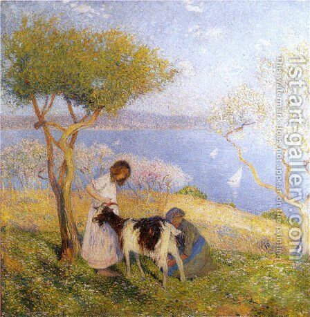 Landscape with the goat by Henri Martin - Reproduction Oil Painting
