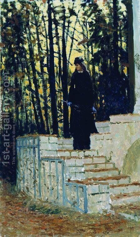 Female figure in a landscape by Ilya Efimovich Efimovich Repin - Reproduction Oil Painting
