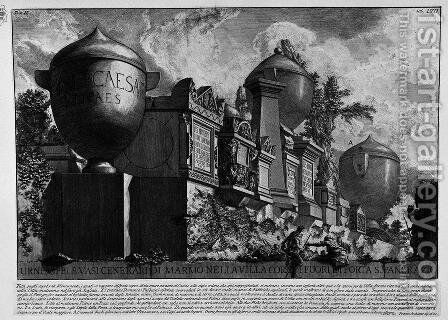 The Roman antiquities, t. 2, Plate LVII. Urns, memorials and vases of marble ashtray in the Villa Corsini outside Porta S. Pancrazio. by Giovanni Battista Piranesi - Reproduction Oil Painting