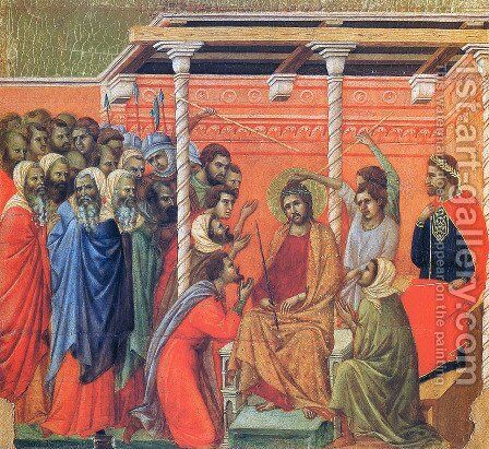 Mockery of Christ by Duccio Di Buoninsegna - Reproduction Oil Painting