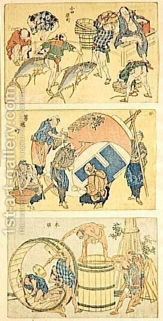 Street scenes by Katsushika Hokusai - Reproduction Oil Painting