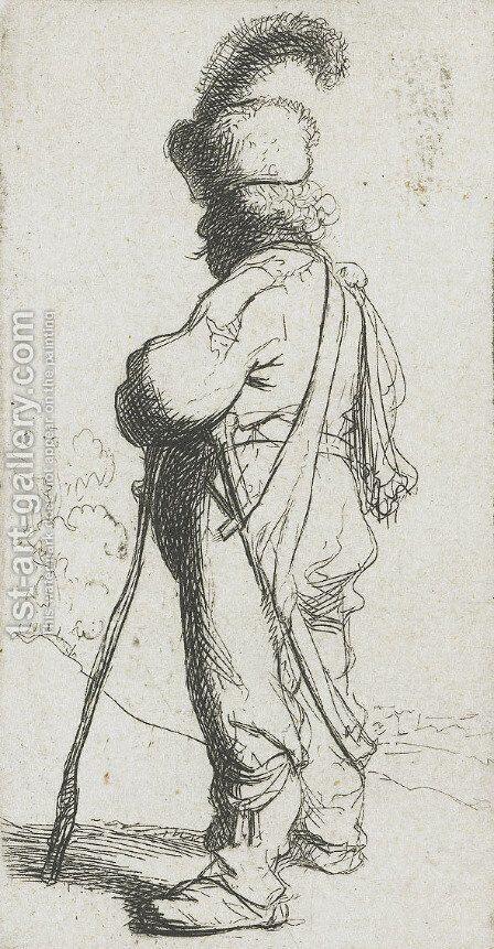 Polander leaning on a stick by Rembrandt - Reproduction Oil Painting