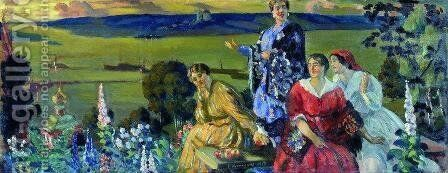 Mercahnt's Wifes on the Volga by Boris Kustodiev - Reproduction Oil Painting