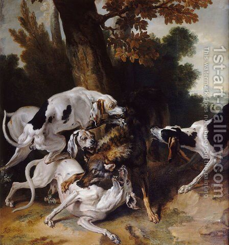 L'hallali du loup by Jean-Baptiste Oudry - Reproduction Oil Painting