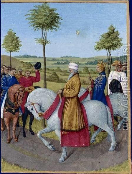 The Emperor Charles IV and the dignitaries of Paris by Jean Fouquet - Reproduction Oil Painting
