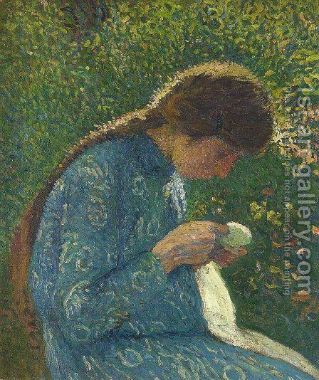 A Young Woman Sewing by Henri Martin - Reproduction Oil Painting