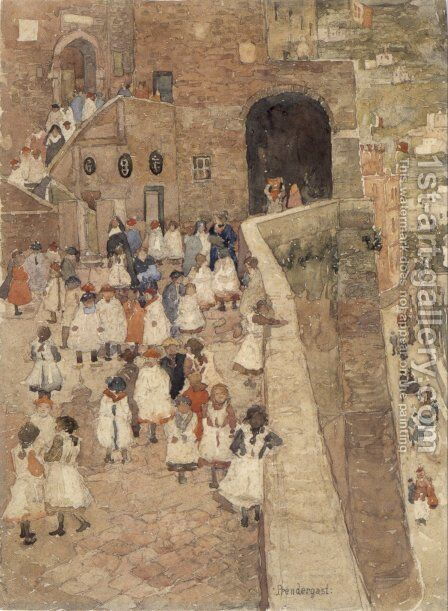 Courtyard Scene, Siena by Maurice Brazil Prendergast - Reproduction Oil Painting