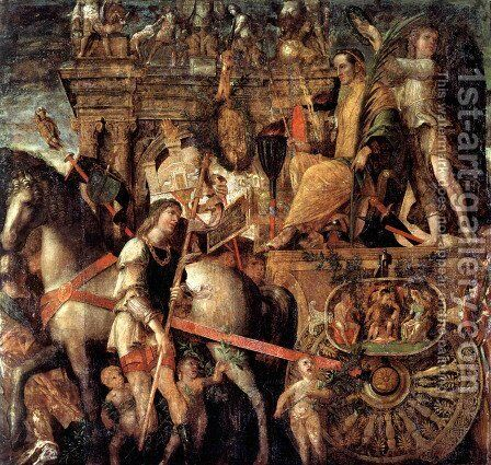 Julius Caesar on a triumphal car by Andrea Mantegna - Reproduction Oil Painting