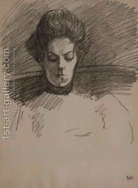 Portrait de Madame Steinlen by Theophile Alexandre Steinlen - Reproduction Oil Painting
