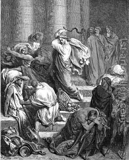 The Buyers And Sellers Driven Out Of Temple by Gustave Dore - Reproduction Oil Painting