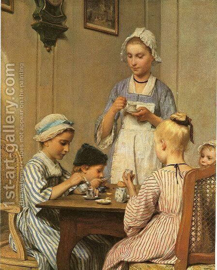Kinderfruhstuck by Albert Anker - Reproduction Oil Painting