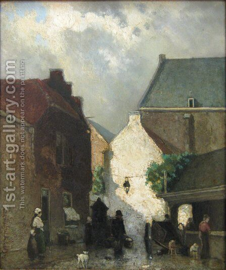 Fish market Sun by Jan Hendrik Weissenbruch - Reproduction Oil Painting