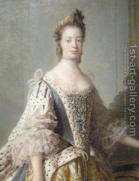 Portrait of Sophia Charlotte of Mecklenburg-Strelitz, wife of King George III by Allan Ramsay - Reproduction Oil Painting
