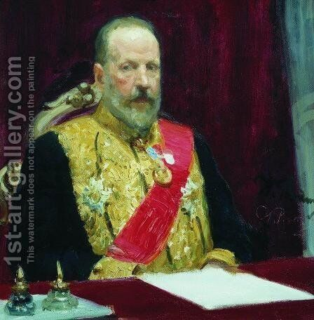 Portrait of Sergey Vitte by Ilya Efimovich Efimovich Repin - Reproduction Oil Painting