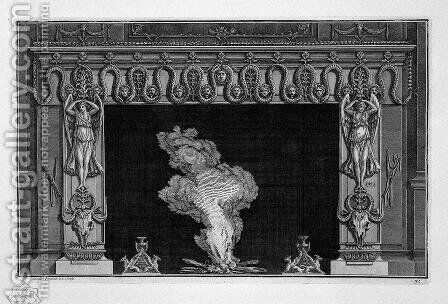 Fireplace with a frieze of serpents and winged figures above the hips bucranes by Giovanni Battista Piranesi - Reproduction Oil Painting