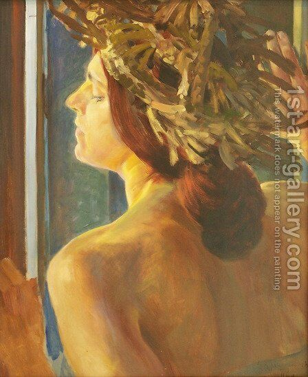 Study of a woman by the window by Jacek Malczewski - Reproduction Oil Painting