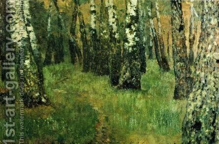 At the birch grove by Isaak Ilyich Levitan - Reproduction Oil Painting