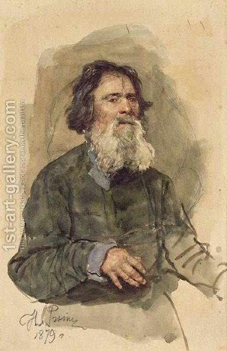 Portrait of a bearded peasant by Ilya Efimovich Efimovich Repin - Reproduction Oil Painting
