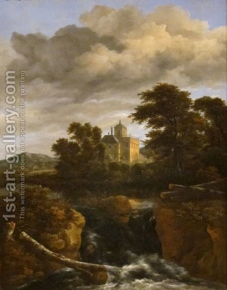 Landscape with a Waterfall and Castle by Jacob Van Ruisdael - Reproduction Oil Painting
