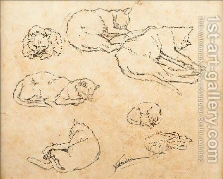 Study of Cats by Theophile Alexandre Steinlen - Reproduction Oil Painting