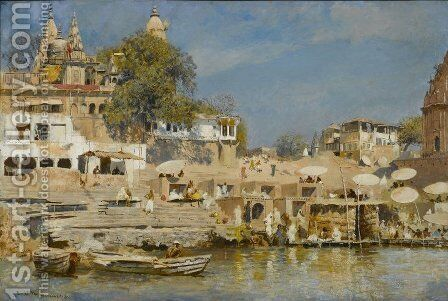 Temples and bathing ghat at Benares by Edwin Lord Weeks - Reproduction Oil Painting