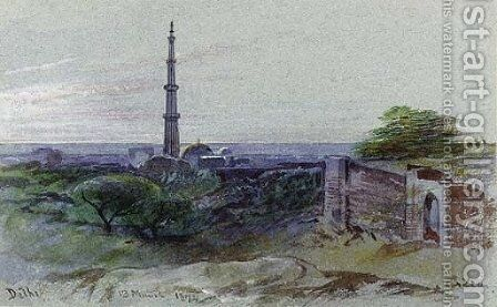A view of the Qutb Minar, Delhi by Edward Lear - Reproduction Oil Painting