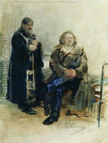 Refusal of Confession by Ilya Efimovich Efimovich Repin - Reproduction Oil Painting