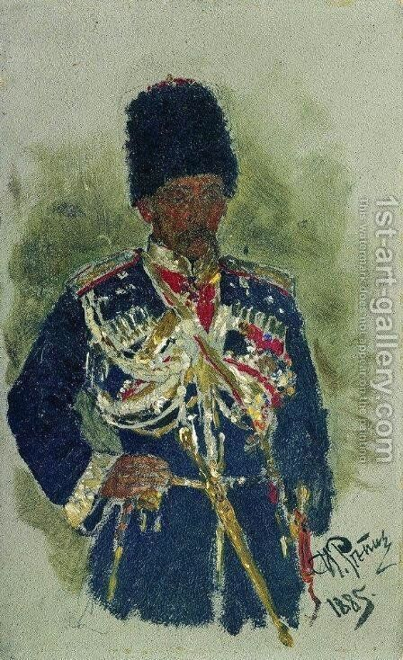 General in the form of royal guards. P.A. Cherevin. by Ilya Efimovich Efimovich Repin - Reproduction Oil Painting