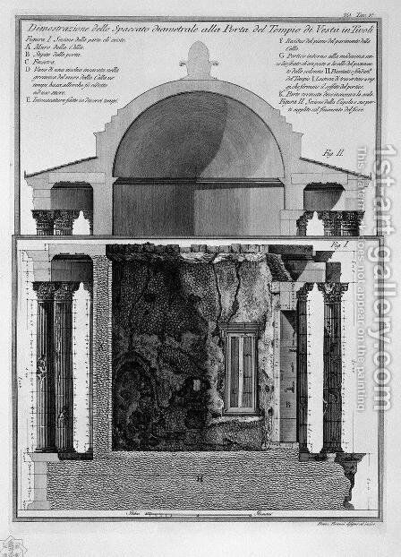 Demonstration of cross-section diameter of the Gate of the Temple of Vesta in Tivoli by Giovanni Battista Piranesi - Reproduction Oil Painting