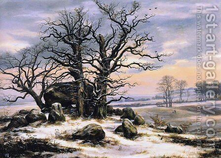 Megalith Grave in Winter by Johan Christian Clausen Dahl - Reproduction Oil Painting