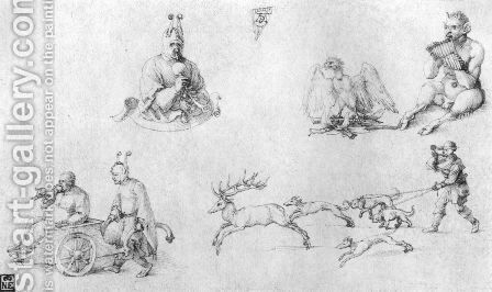 Study sheet with fools, Faun, Phoenix and Deer Hunting by Albrecht Durer - Reproduction Oil Painting
