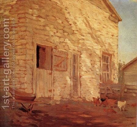 Old Stone and barn by Grant Wood - Reproduction Oil Painting