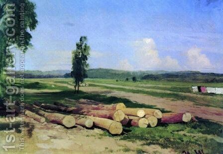 Logs. Kostiantynovka village near the Red village by Ivan Shishkin - Reproduction Oil Painting