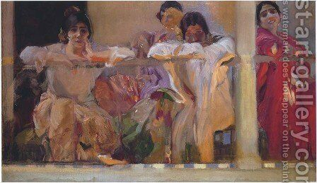 Artist's Patio, Cafe Novedades, Seville by Joaquin Sorolla y Bastida - Reproduction Oil Painting