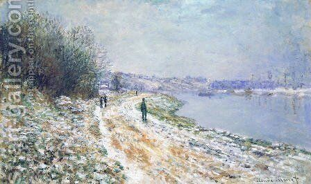 The Tow Path at Argenteuil, Winter by Claude Oscar Monet - Reproduction Oil Painting
