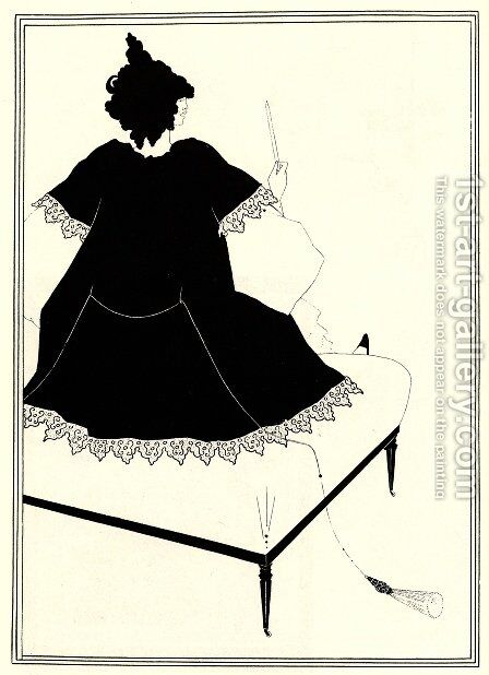 Salome on Settle by Aubrey Vincent Beardsley - Reproduction Oil Painting