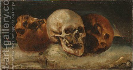 The three skulls by Theodore Gericault - Reproduction Oil Painting