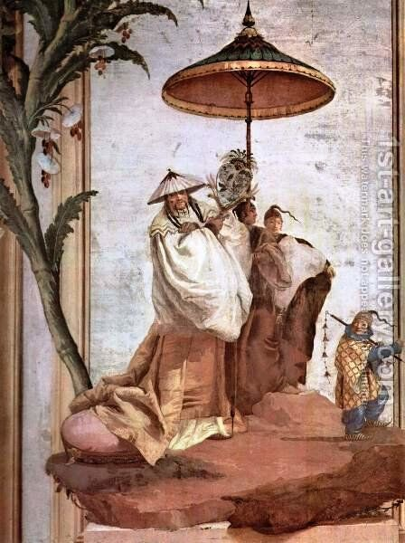 The Mandarin's Walk, from the Chinese Room in the Foresteria by Giovanni Domenico Tiepolo - Reproduction Oil Painting
