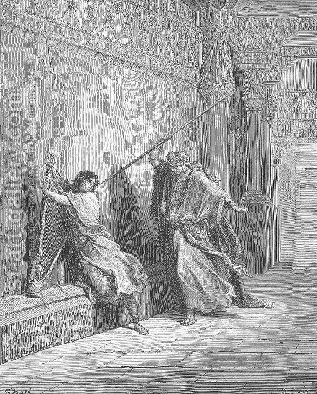 Saul Attempts to Kill David by Gustave Dore - Reproduction Oil Painting