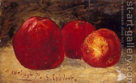 Three Red Apples by Gustave Courbet - Reproduction Oil Painting