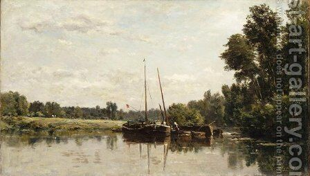 The barges by Charles-Francois Daubigny - Reproduction Oil Painting