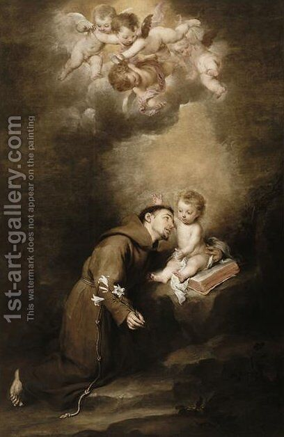 Saint Anthony of Padua and the Infant Jesus by Bartolome Esteban Murillo - Reproduction Oil Painting